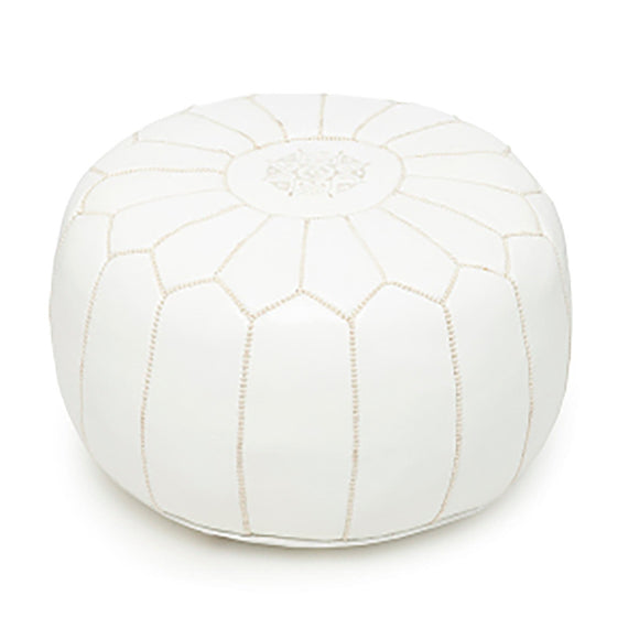 Moroccan Leather Pouffe White