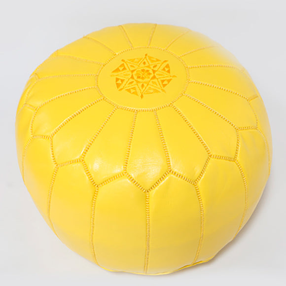 Moroccan Leather Pouffe Yellow