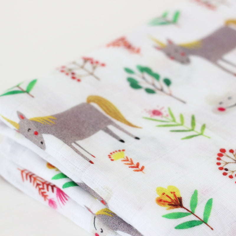 Muslin Swaddle Blanket ~ Unicorns