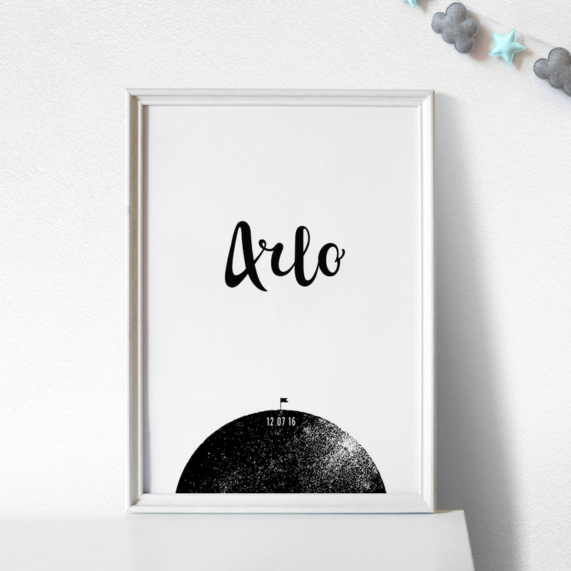 PERSONALISED BABY BOY BIRTH PRINT, MOON