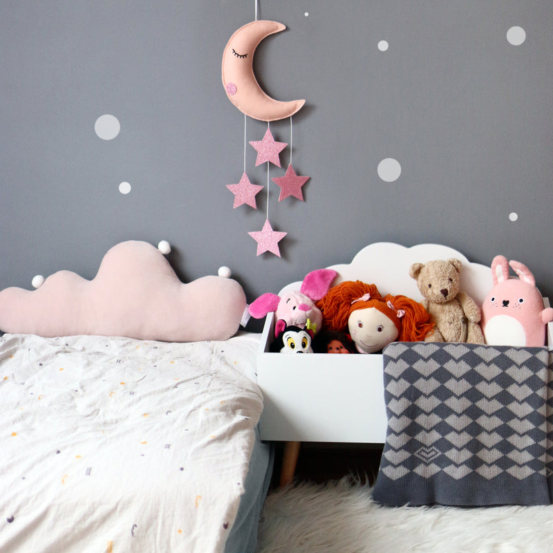 MOON AND STARS BABY MOBILE IN SOFT PINK