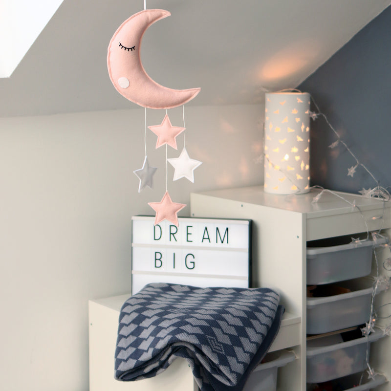 SLEEPY MOON AND STARS BABY MOBILE, SOFT PINK AND WHITE