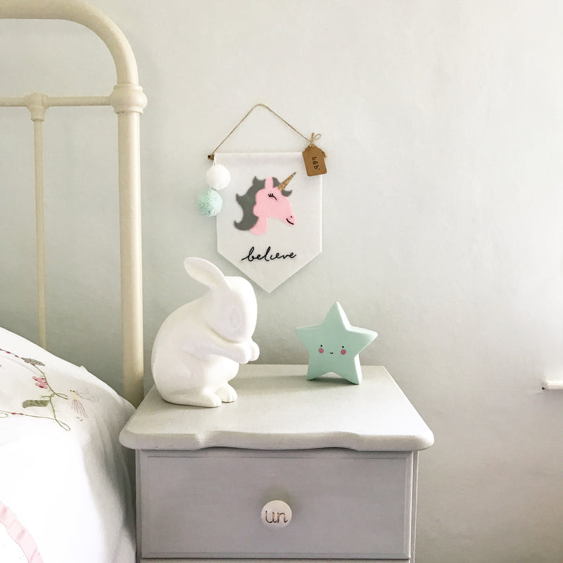 Unicorn Wall Hanging with Pom Poms