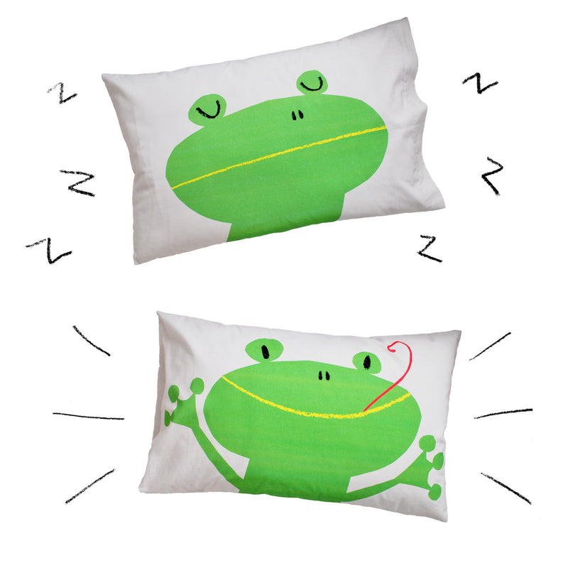 GREEN FROG PILLOWCASE