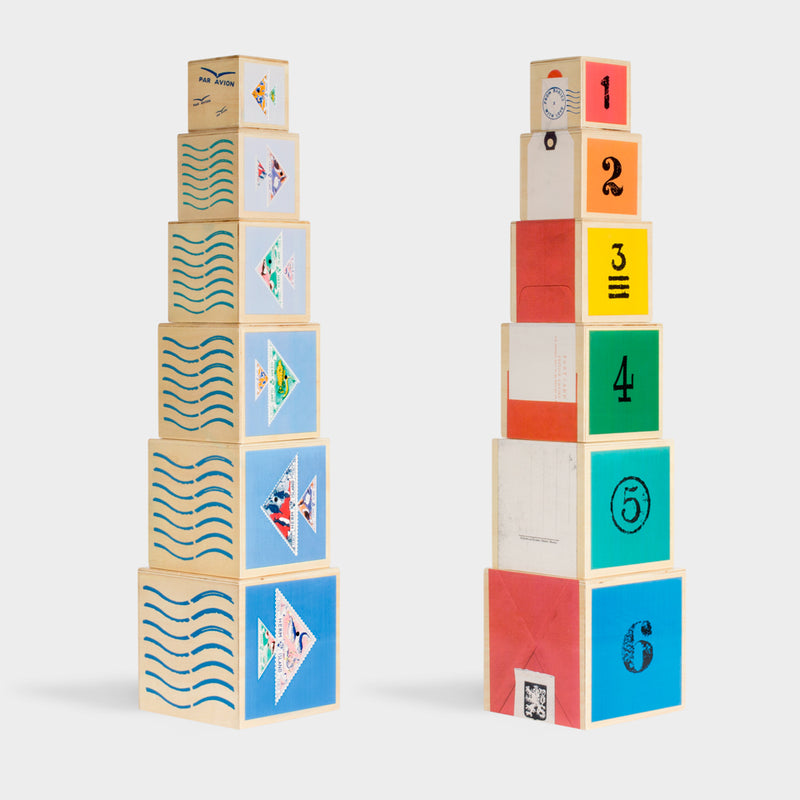 WOODEN TOY NAUTICAL NESTING CUBES