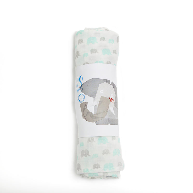 ORGANIC ELEPHANT FAMILY GREY MINT LARGE MUSLIN SWADDLE