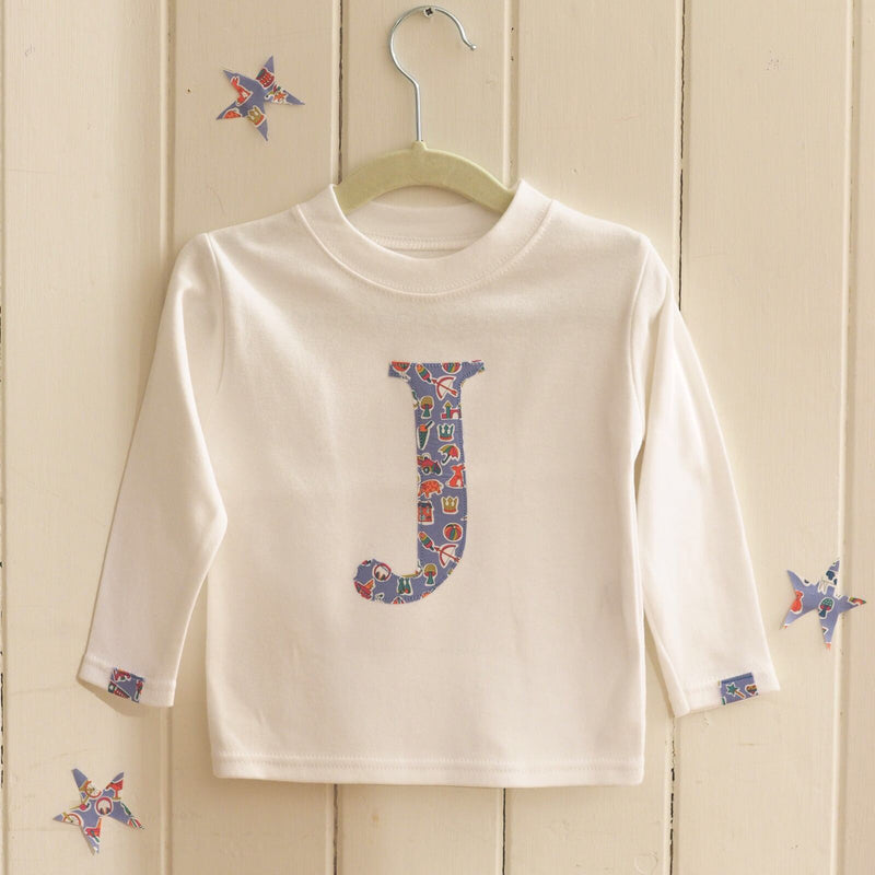 WHITE LIBERTY PRINT INITIAL T SHIRT