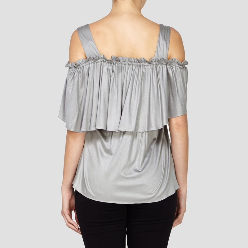 GREY ELLIE COLD SHOULDER TOP