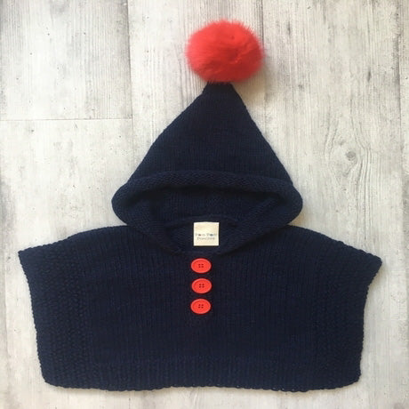 Pom Pom Poncho - Navy and Red