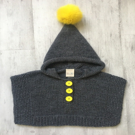 Pom Pom Poncho - Grey and Yellow