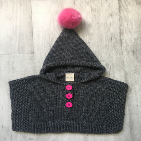 Pom Pom Ponchos - Grey and Pink