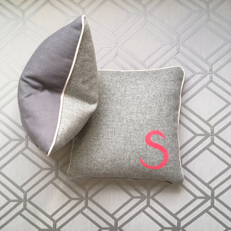 PERSONALISED INITIAL CUSHION - GREY FABRIC