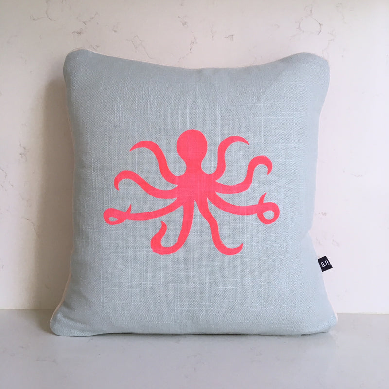 OLIVIA OCTOPUS CUSHION - DUCK EGG FABRIC