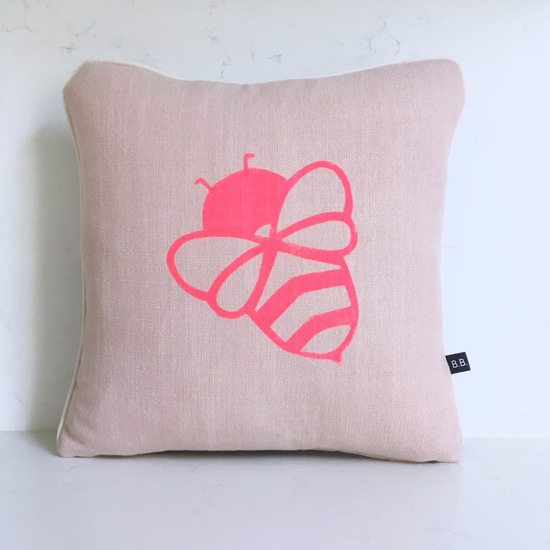 BESSIE BUMBLEBEE CUSHION - PINK FABRIC