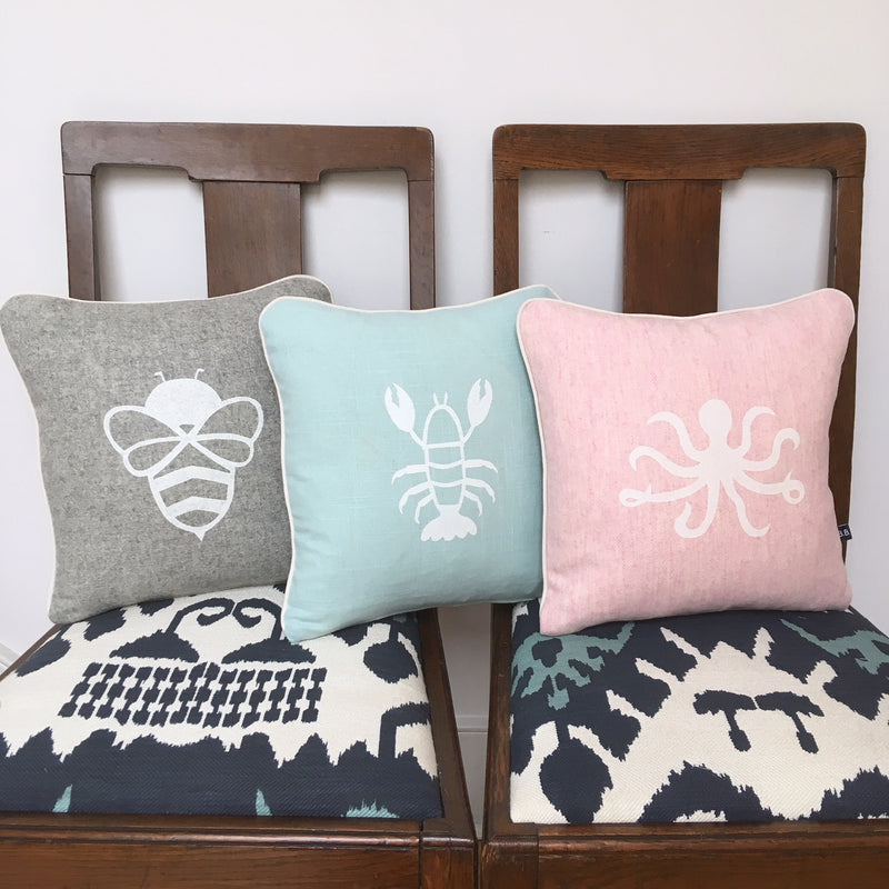 BESSIE BUMBLEBEE CUSHION - GREY FABRIC