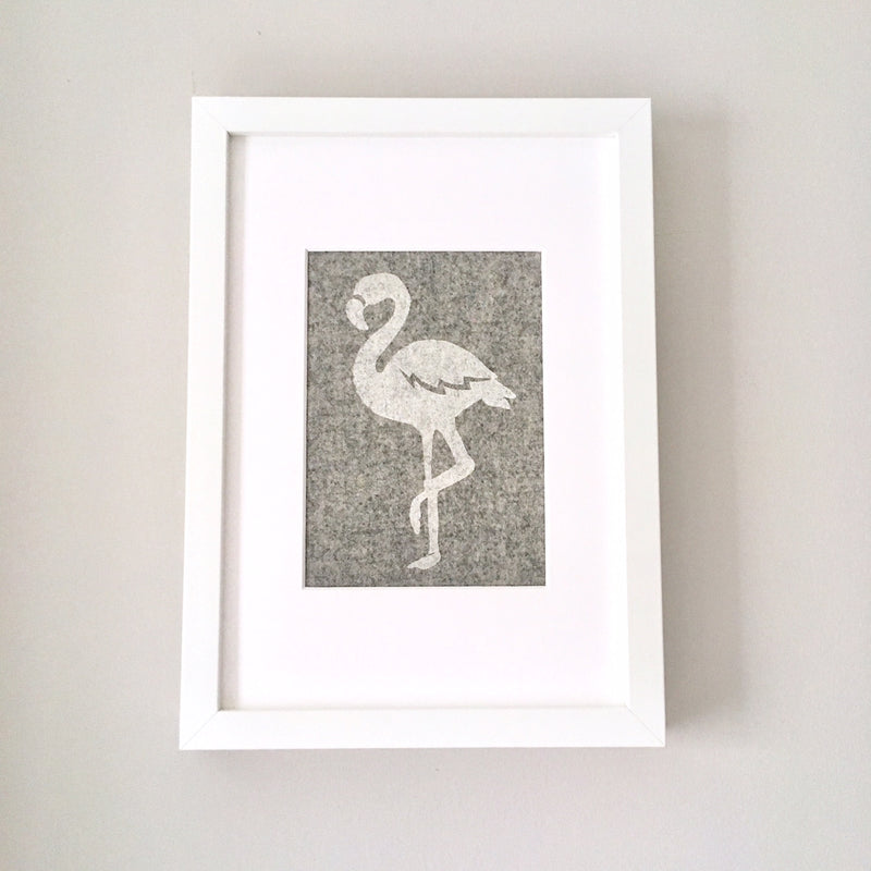 FLORENCE FLAMINGO FRAMED FABRIC PRINT - GREY FABRIC