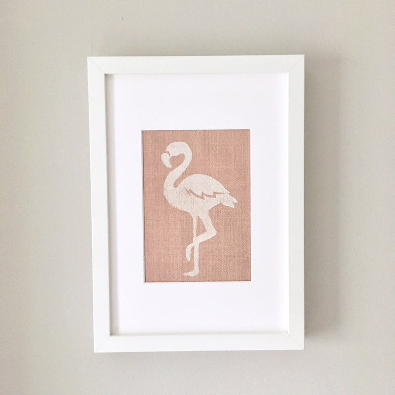FLORENCE FLAMINGO FRAMED FABRIC PRINT - PINK FABRIC