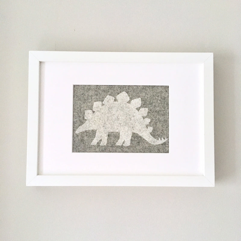 DANNY DINOSAUR FRAMED FABRIC PRINT - GREY FABRIC