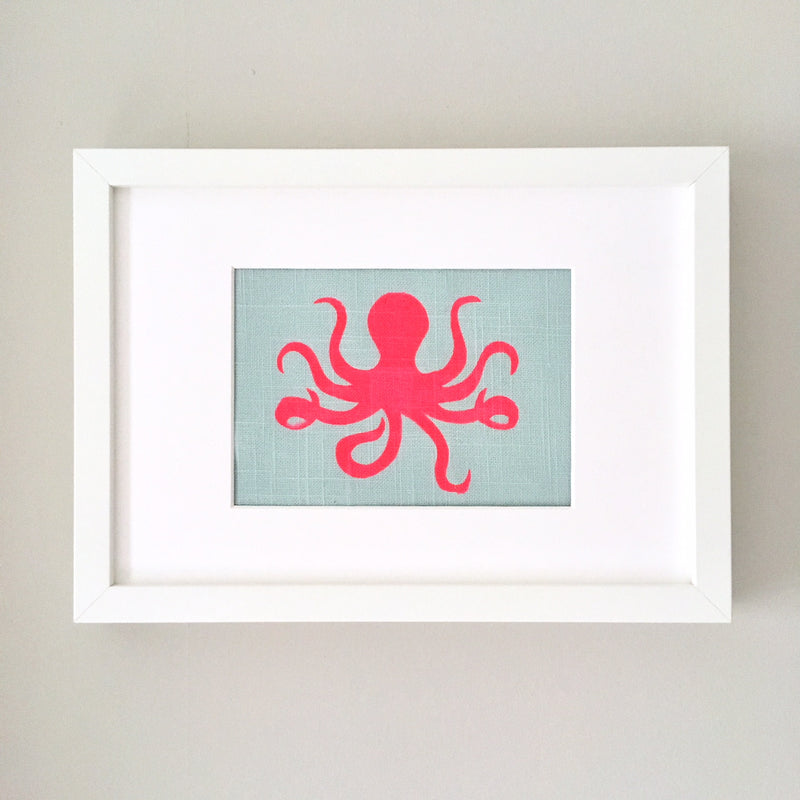 OLIVIA OCTOPUS FRAMED FABRIC PRINT - DUCK EGG FABRIC