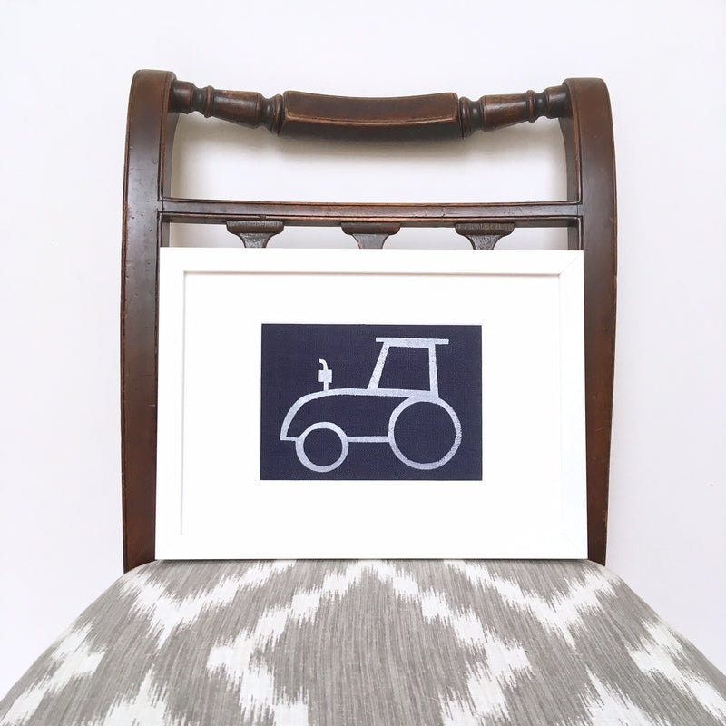 TOMMY TRACTOR FRAMED FABRIC PRINT - NAVY FABRIC