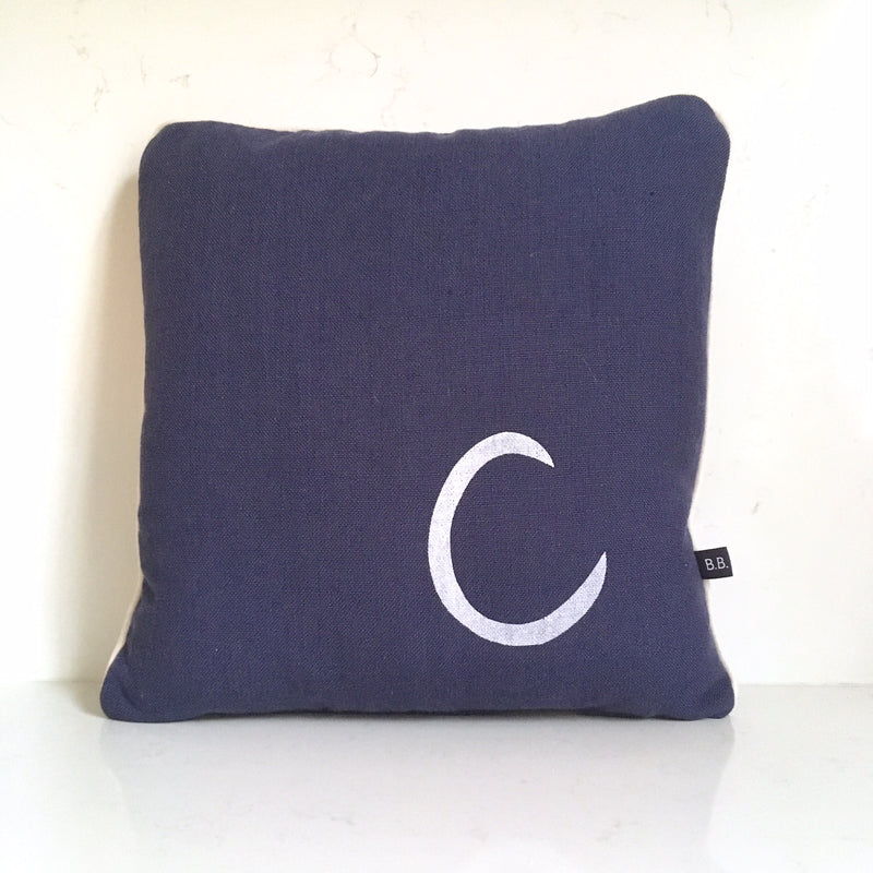 PERSONALISED INITIAL CUSHION - NAVY FABRIC