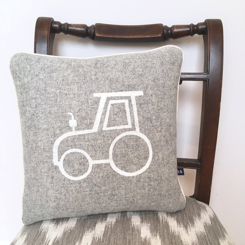 TOMMY TRACTOR CUSHION - GREY FABRIC