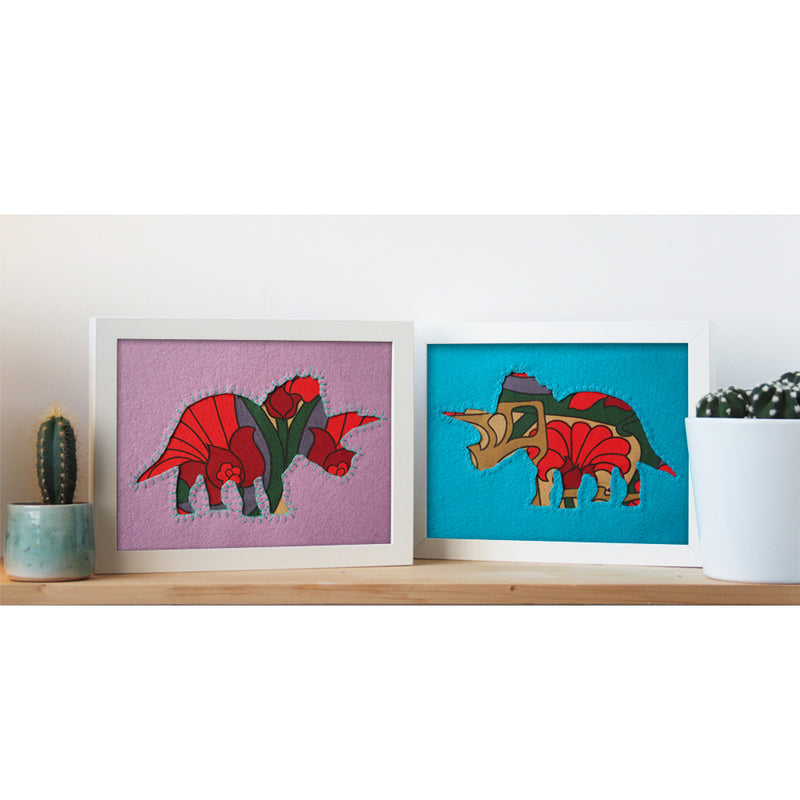 UNIQUE HAND EMBROIDERED VINTAGE FABRIC DINO PICTURES