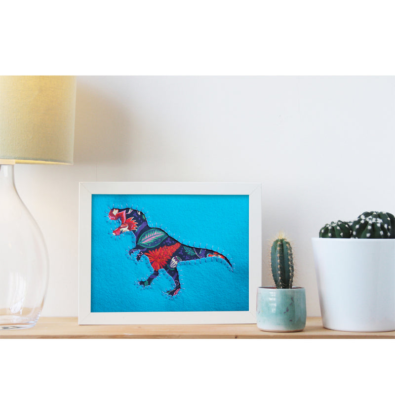 UNIQUE HAND EMBROIDERED LIBERTY PRINT DINO PICTURES