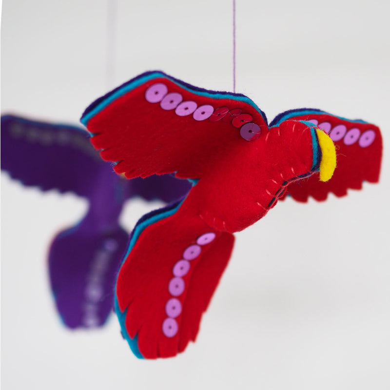 PURPLE AND RED PARROT BABY MOBILE