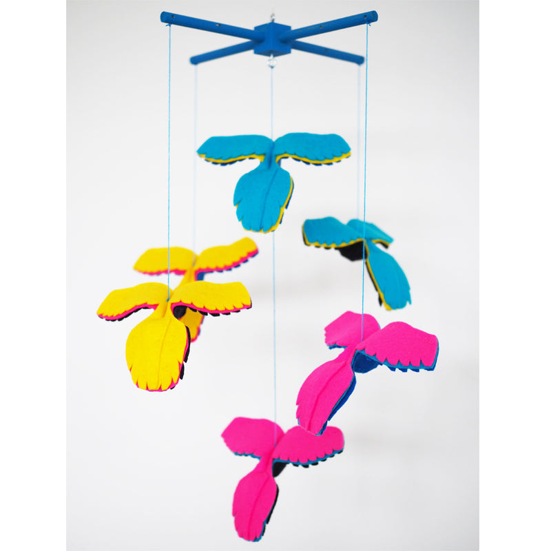 BLUE AND NEON PARROT BABY MOBILE