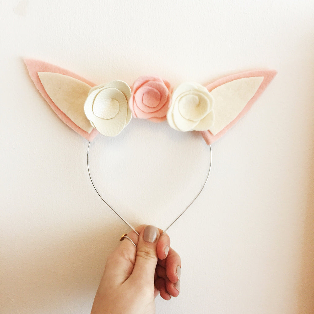 BUNNY RABBIT EAR FLORAL HEADBAND