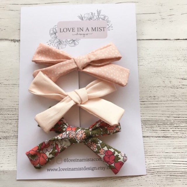 PEACH COTTON FABRIC HAIR CLIPS