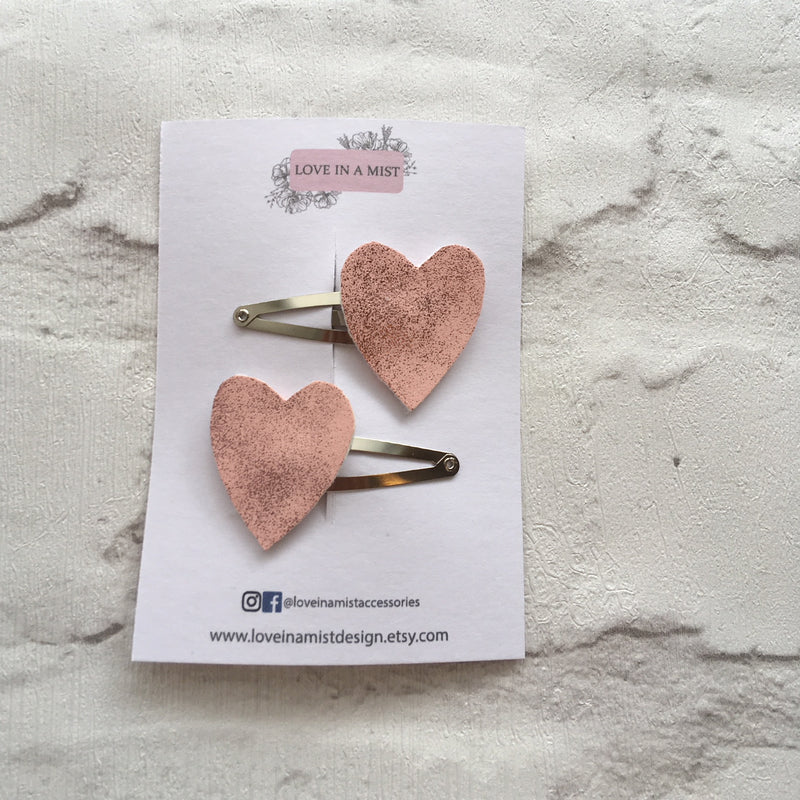 HEART PINK FAUX LEATHER HAIR CLIPS