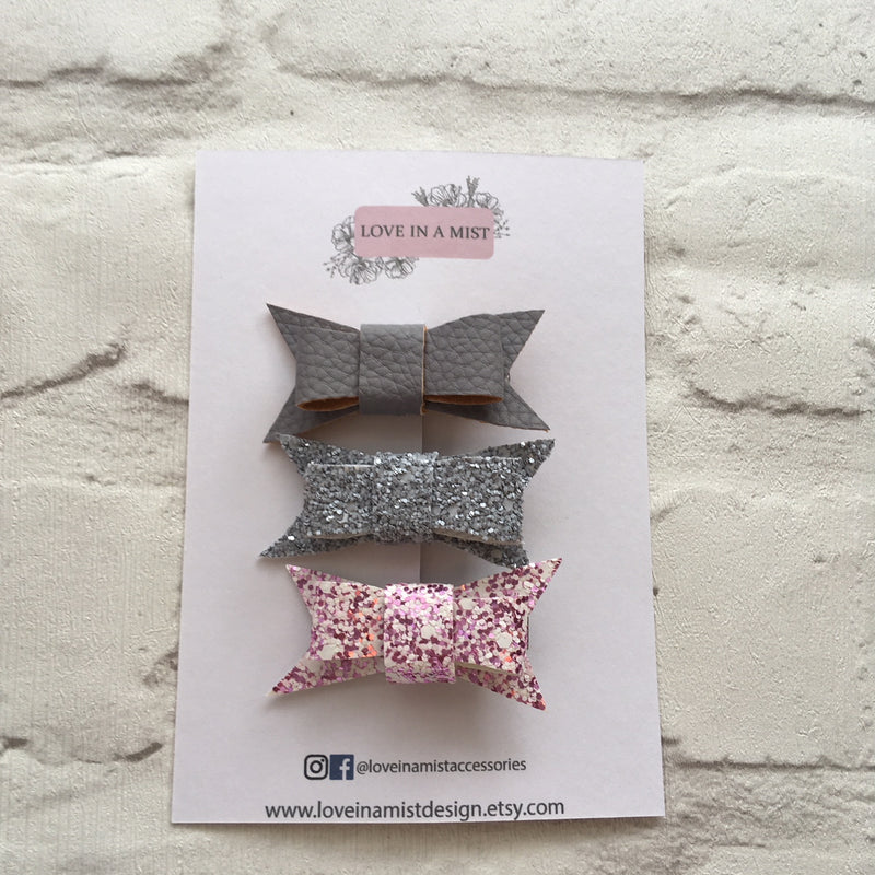 PINK & GREY MINI BOW PACK