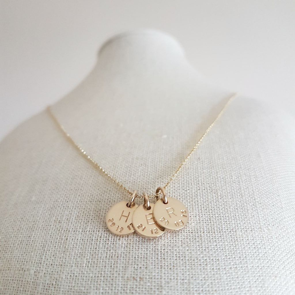 PERSONALISED 9CT GOLD DATE AND INITIAL NECKLACE