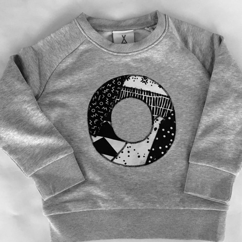 Monochrome Kids Personalised Initial Alphabet Applique Sweatshirt