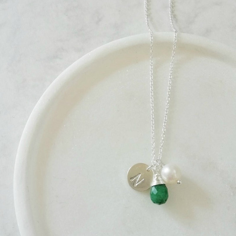 PERSONALISED MAY BIRTHSTONE NECKLACE