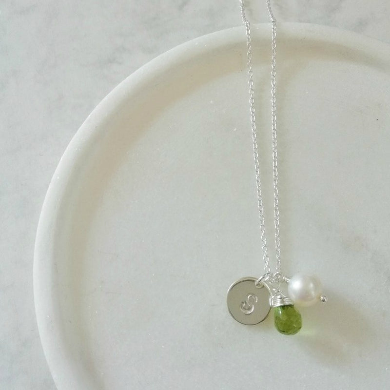 PERSONALISED PERIDOT NECKLACE, INITIAL NECKLACE, AUGUST BIRTHSTONE