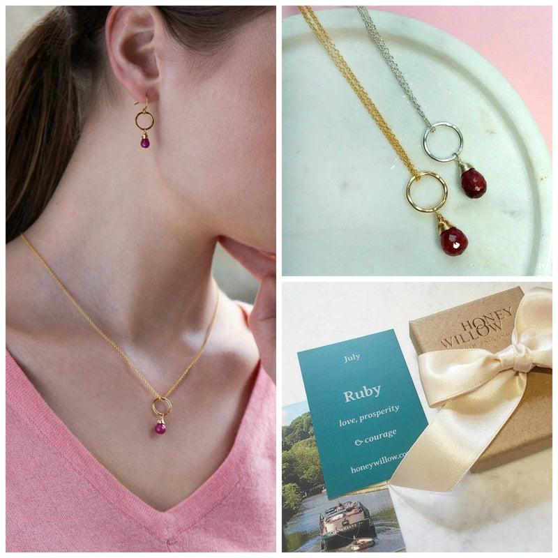 JULY BIRTHSTONE NECKLACE, DAINTY RUBY NECKLACE, JULY BIRTHDAY GIFT FOR DAUGHTER, WIFE, SISTER