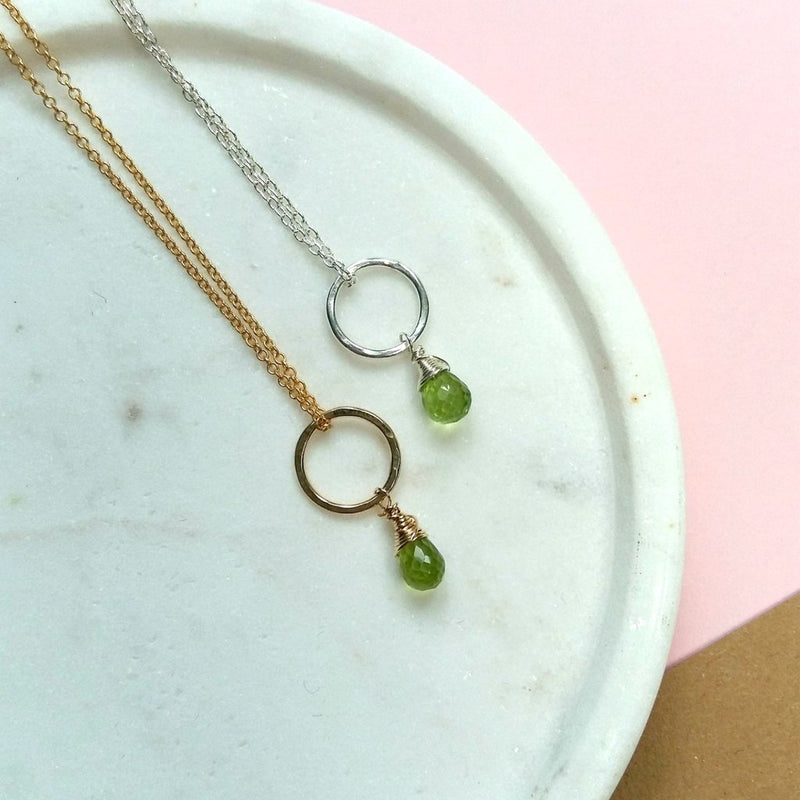 AUGUST BIRTHSTONE NECKLACE, DAINTY PERIDOT NECKLACE, AUGUST BIRTHDAY GIFT FOR DAUGHTER