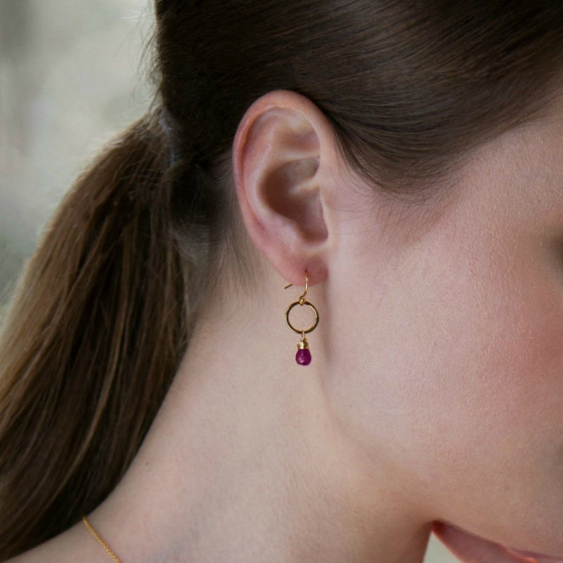 JULY BIRTHSTONE EARRINGS, GIFT FOR DAUGHTER, RUBY EARRINGS