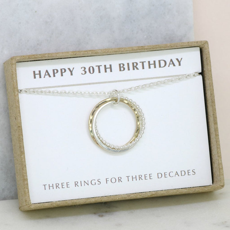 30TH BIRTHDAY GIFT - 3 RINGS FOR 3 DECADES NECKLACE