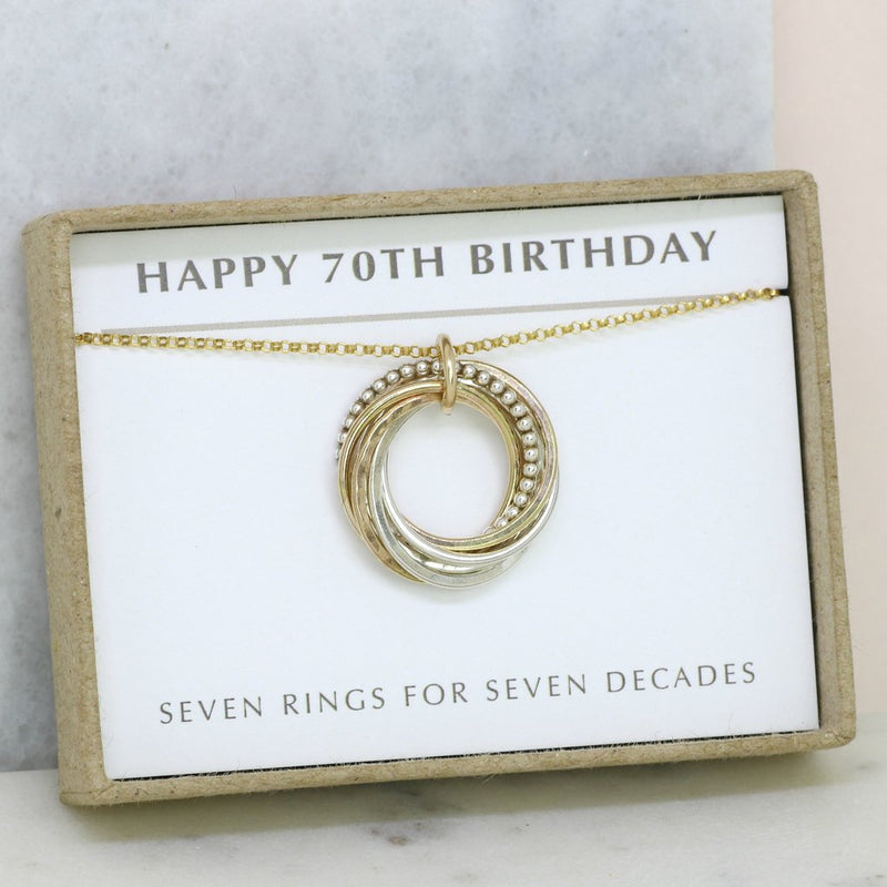 70TH BIRTHDAY GIFT - 7 RINGS FOR 7 DECADES NECKLACE