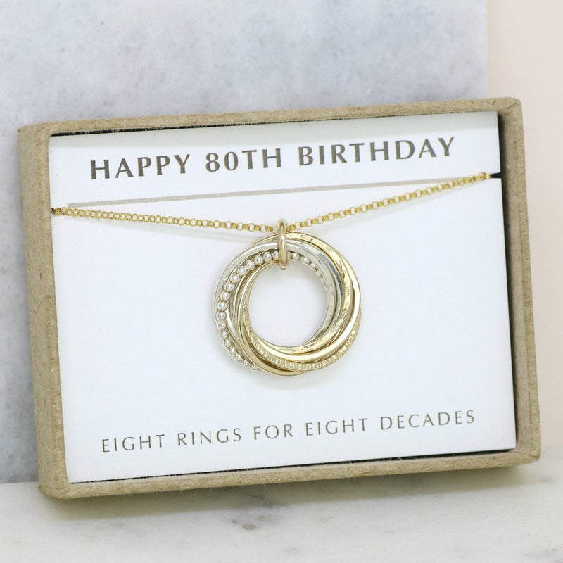 80TH BIRTHDAY GIFT - 8 RINGS FOR 8 DECADES NECKLACE