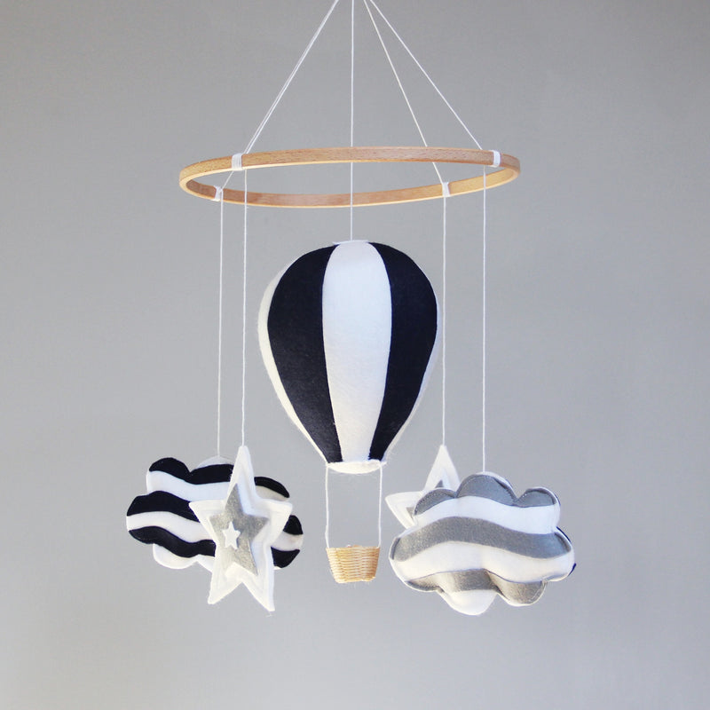 NAVY BLUE & WHITE HOT AIR BALLOON BABY MOBILE WITH CLOUDS & STARS