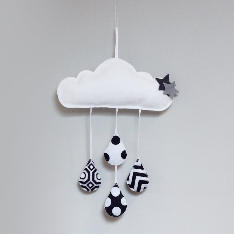 HIGH CONTRAST CLOUD RAIN DROPLET WALL HANGING