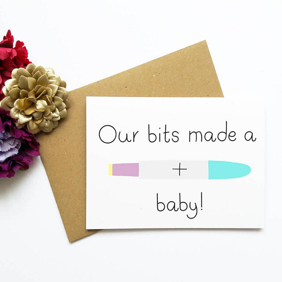 OUR BITS MADE A BABY PREGNANCY ANNOUNCEMENT CARD