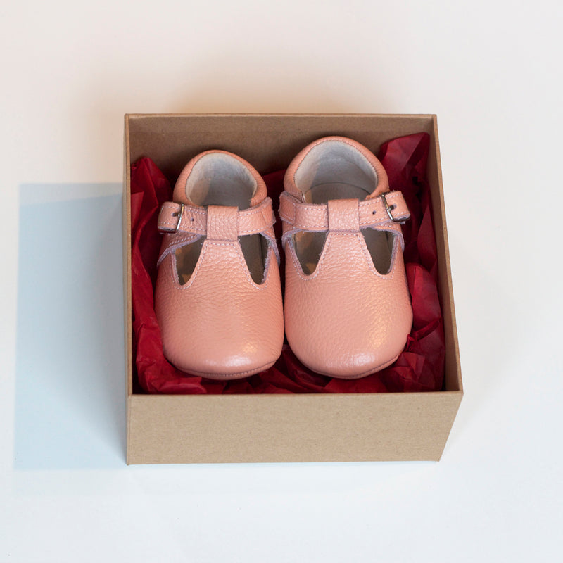 BLUSH PINK LEATHER BABY T-BAR MARY JANES
