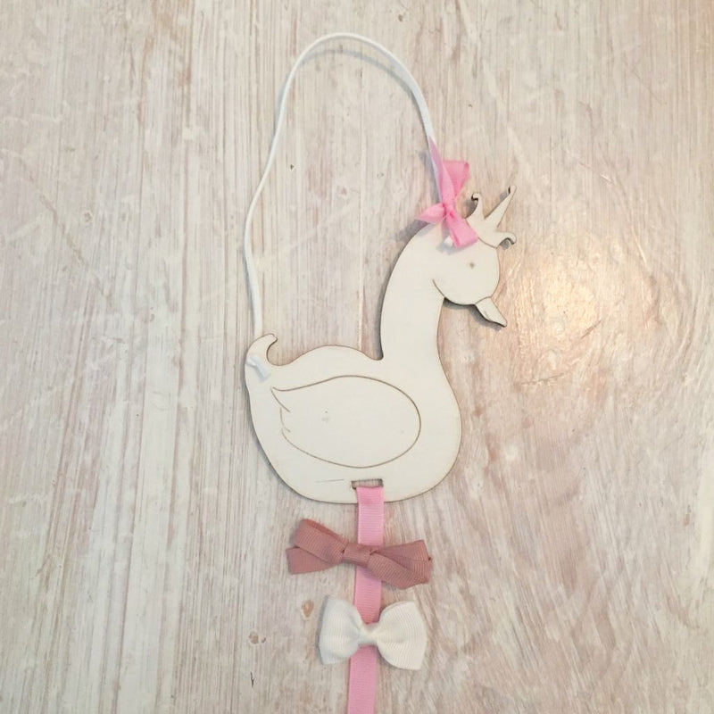 LITTLE SWAN HAIR BOW HOLDER - VARIOUS COLOURS / PERSONALISED
