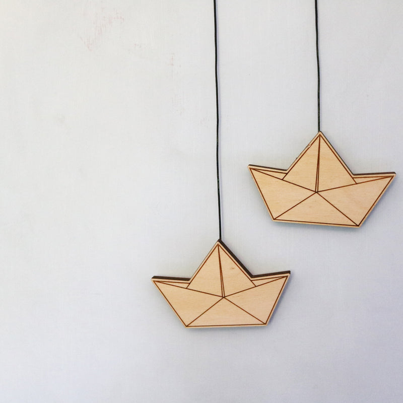 HANGING WOODEN PAPER BOATS